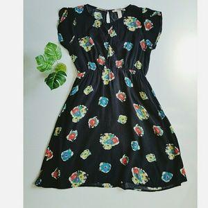 Forever 21 Dress Floral Black Empire Waist Stretch